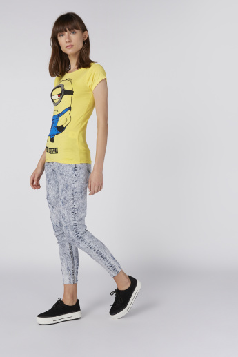 Minions Printed T-Shirt with Round Neck and Cap Sleeves