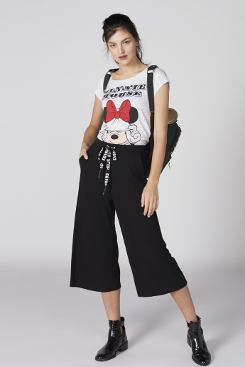 Minnie Mouse Printed T-Shirt with Round Neck and Cap Sleeves