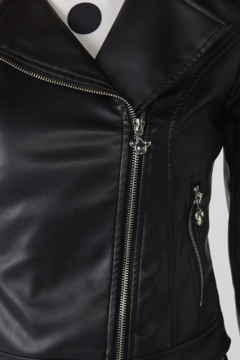 Long Sleeves Biker Jacket with Zip Closure and Pocket Detail