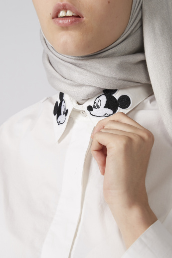 Mickey Mouse Embroidered Applique Detail Shirt with Complete Placket