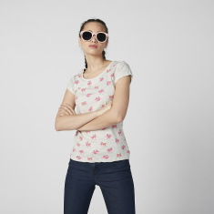 The Pink Panther Printed T-shirt with Cap Sleeves