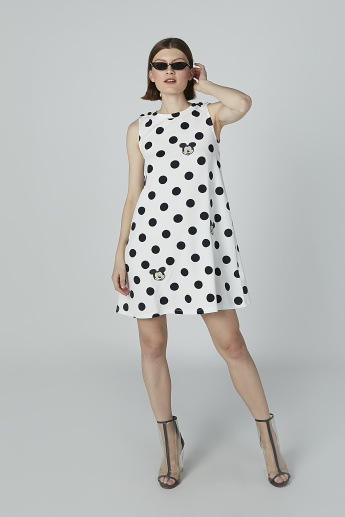 Mickey Mouse Printed Sleeveless Tunic in Relaxed Fit with Round Neck