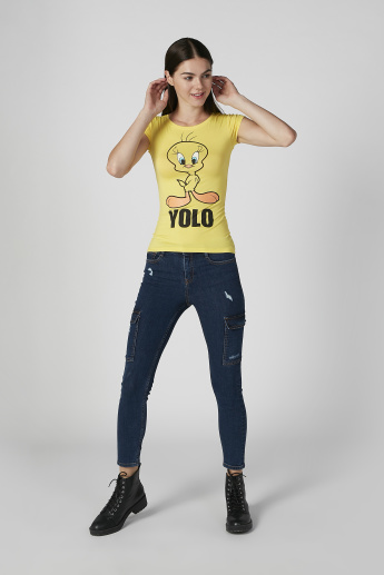 Skinny Fit Tweety Printed Round Neck T-shirt with Cap Sleeves