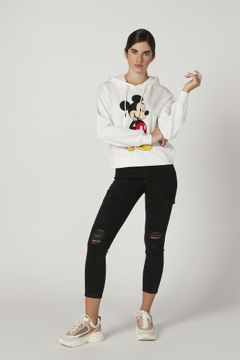 Mickey Mouse Printed Sweatshirt with Long Sleeves and Hood