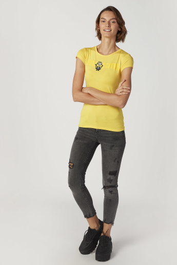 Skinny Fit Minions Printed Top with Round Neck and Cap Sleeves