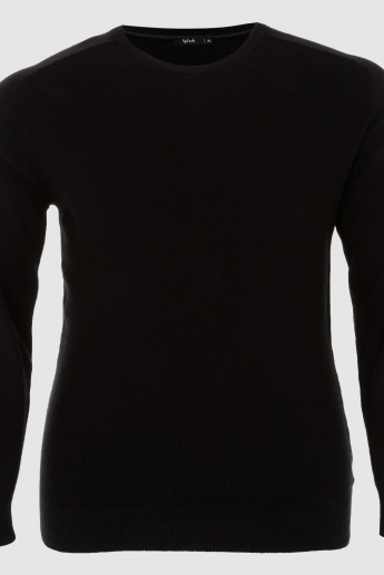 Crew Neck Sweater with Long Sleeves and Cuffs