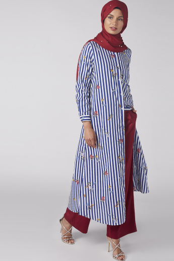Striped Longline Shirt with Long Sleeves and Complete Placket