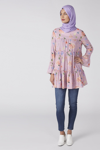 Printed Top with Long Sleeves and Ruffle Detail