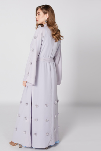 Flower Detail Abaya with Flared Sleeves and Tie UP Belt