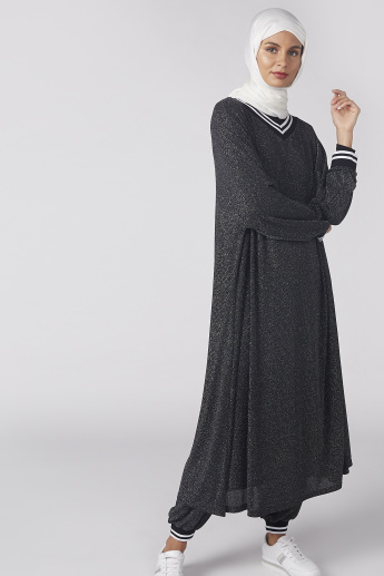 Textured Abaya with V-Neck and Long Sleeves