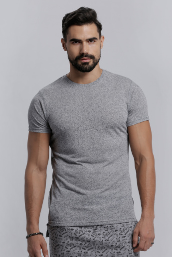 Melange Printed Crew Neck T-Shirt with Short Sleeves