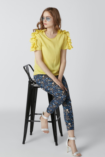 Printed Mid-Rise Pants in Skiny Fit with Elasticised Waistband