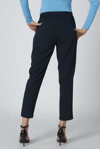 Tape Detail Mid-Waist Chinos in Slim-Fit with Pocket Detail