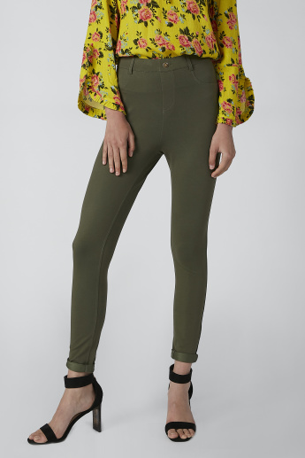 Plain Slim-Fit Jeggings with Pocket Detail