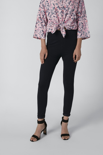 Solid Slim-Fit Jeggings with Pocket Detail