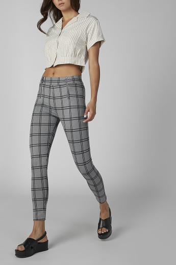 Skinny Fit Chequered Pants with Zip Detail and Elasticised Waistband