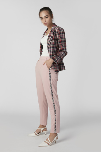 Full Length Mid Waist Trousers with Tape and Pocket Detail