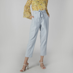 Plain Trousers with Paper Bag Waist and Pocket Detail