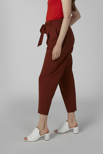 Plain Trousers with Pocket Detail and Paper Bag Waist