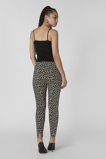 Full Length Animal Printed Pants with Elasticised Waistband