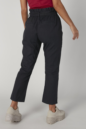 Plain Mid Waist Pants with Pocket Detail and Tie Ups