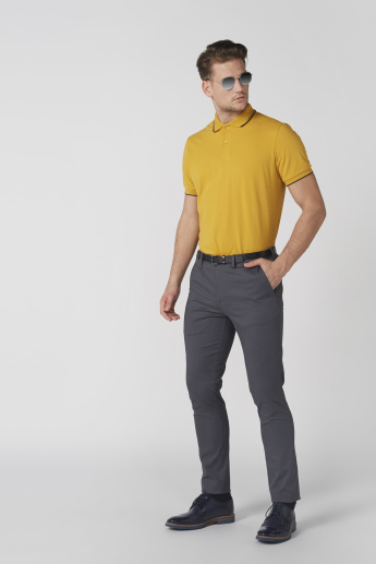 Full Length Trousers with Button Closure and Pocket Detail