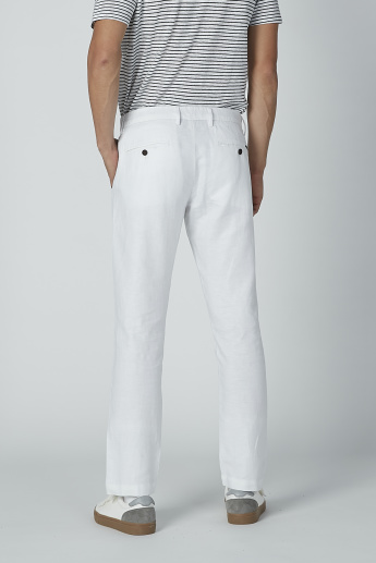 Sustainable Slim Fit Mid-Rise Trousers with Pocket Detail