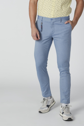 Textured Mid-Rise Full Length Chinos in Slim Fit with Button Closure