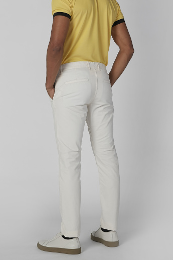 Solid Flat-Front Full Length Trousers with Pocket Detail