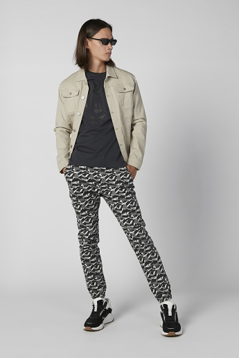 Sustainable Slim Fit Camouflage Printed Jog Pants and Drawstring