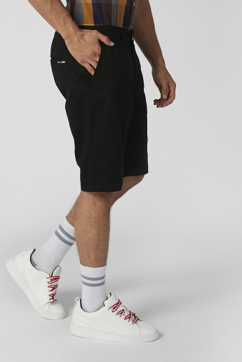 Slim Fit Sustainable Plain Mid Waist Shorts with Pocket Detail