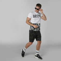 Sustainability Camouflage Printed Shorts with Pocket Detail