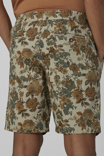 Sustainability Floral Printed Shorts with Drawstring Closure