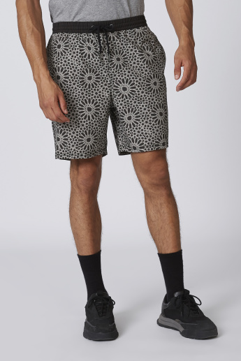 Sustainable Slim Fit Printed Shorts with Drawstring Waistband