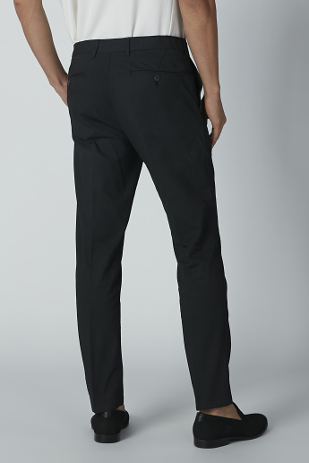 Plain Mid-Rise Trousers in Slim-Fit with Pocket Detail