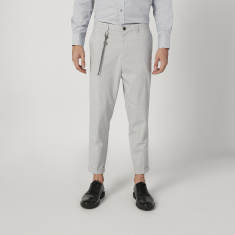 Sustainable Slim Fit Plain Mid Waist Trousers with Pockets