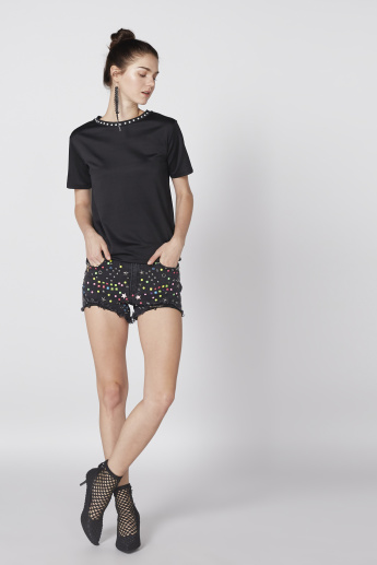 Embellished Denim Shorts with Pocket Detail and Button Closure