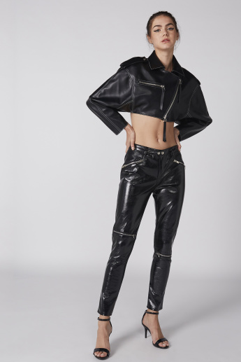 Crop Jacket with Long Sleeves and Zip Closure